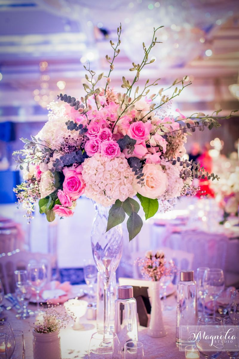 Pink centrepieces, whimsical fairytale wedding flowers and decor ...
