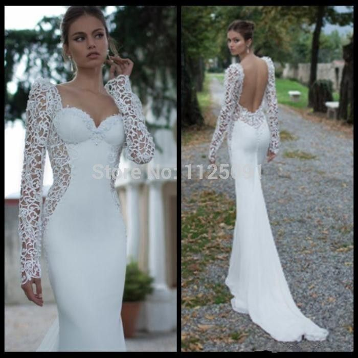 Cheap Backless Bridal Gown Buy Quality Directly From China Weding Dress Suppliers Custom Made Sweetheart New Arrival White Cap Long Sleeves