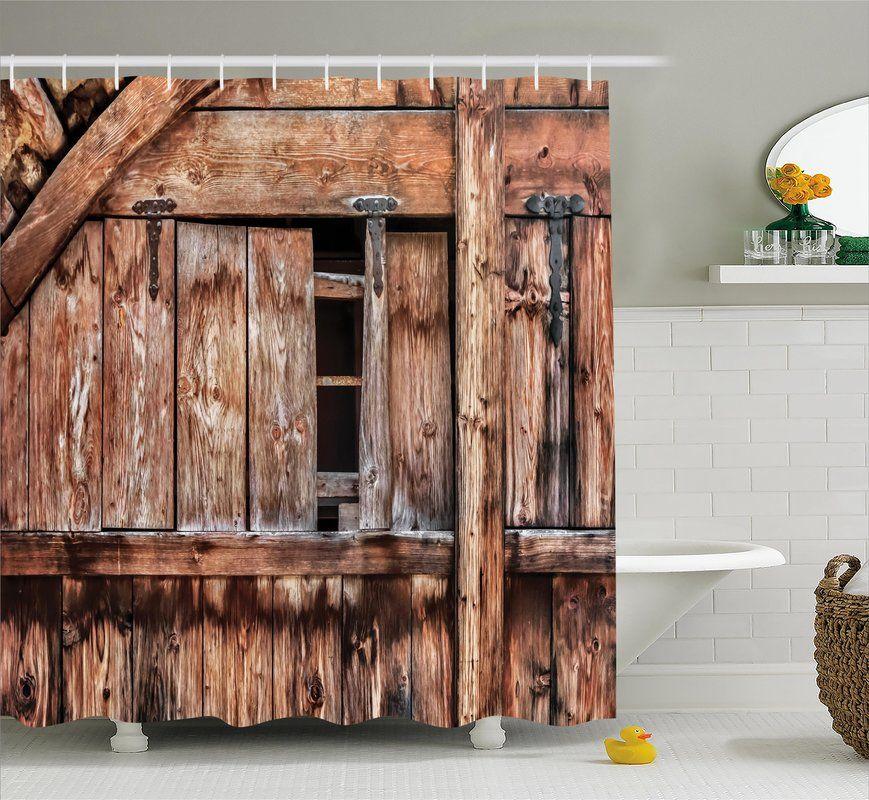 Rustic Oak Abandoned Barn Door Single Shower Curtain Rustic