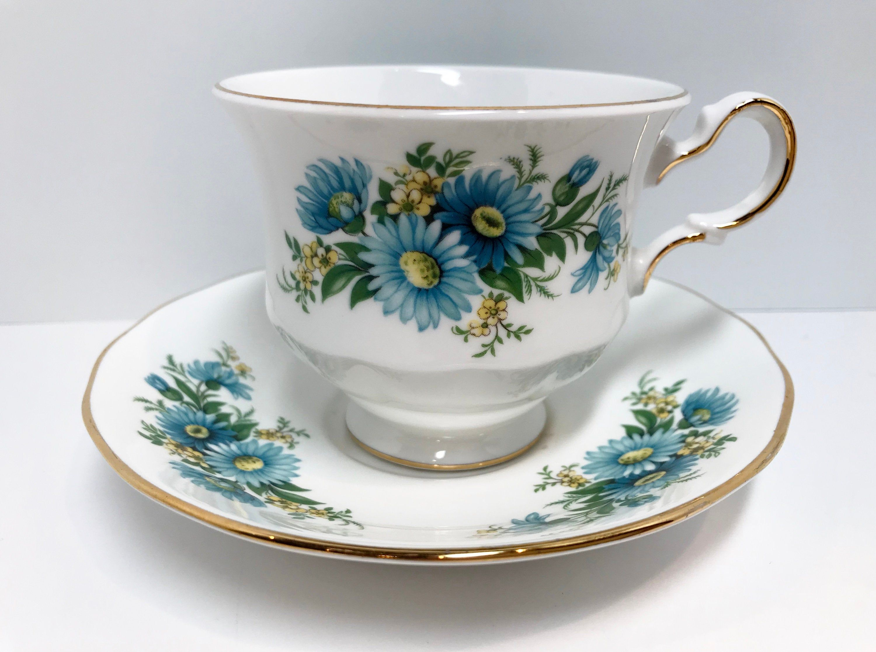 Queen Anne Tea Cup and Saucer, Blue Daisies Teacup, Antique Teacups Vintage, Daisy Tea Cups, Floral Teacups, Blue Daisy Tea Cups, Friendship #teacups