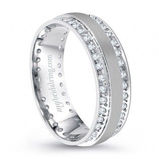 721ad291262da Double Channel Set Diamond Wedding Band In 14K White Gold | Mens ...