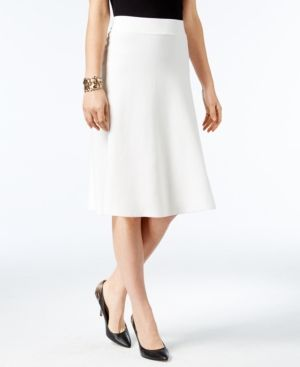 Alfani Milano Fit & Flare Sweater Skirt, Only at Macy's - White XXL