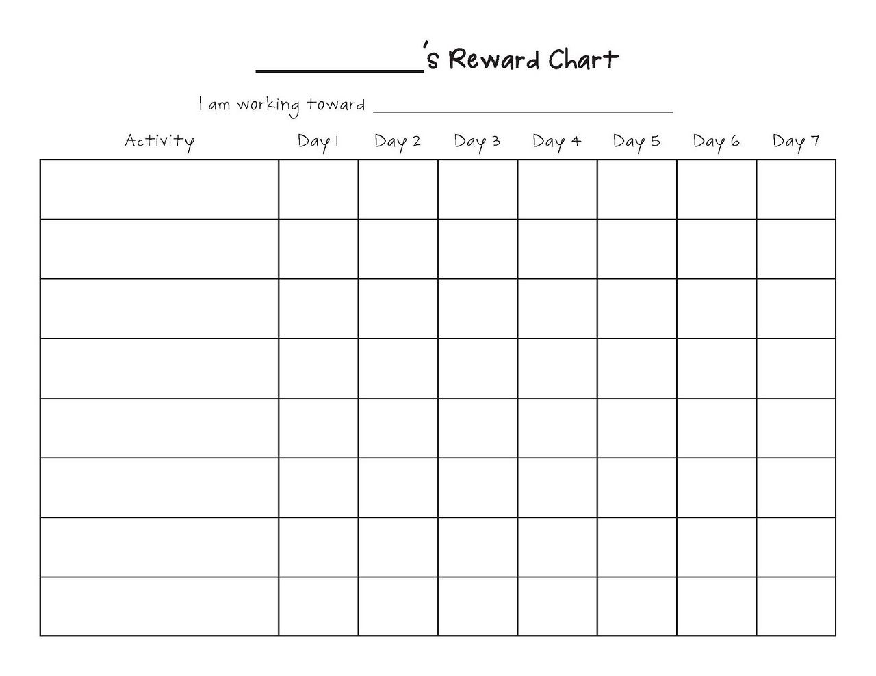 Printable Reward Chart Template Printable Reward Charts Template