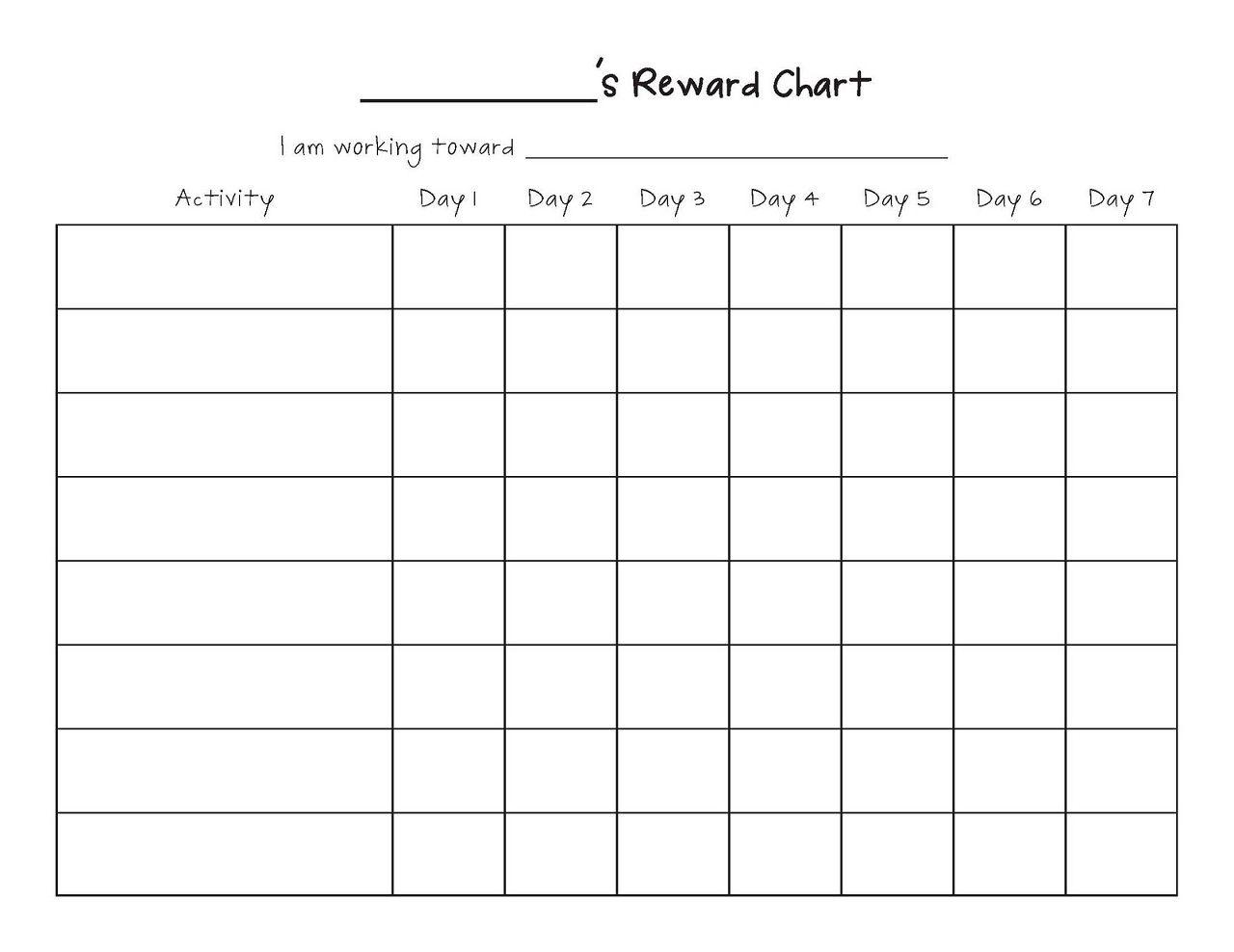 Printable Reward Chart Template Reward Chart Template