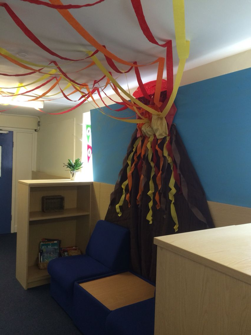 Reading Classroom Decoration Ideas ~ Volcano reading area natural disasters display