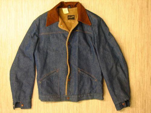 Vintage Wrangler Denim Jacket Brown Plush Fleece Lining Sanforized Men S 42 Long
