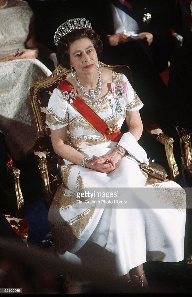 Queen Elizabeth II During An Official Overseas Tour Of Germany 22-26 May 1978 . The Queen Is Wearing The Grand Duchess Of Vladimir Of Russia Tiara, A Diamond And Pearl Necklace That Had Been A Gift To Queen Victoria On Her Golden Jubilee And A Brooch That Had Been A Wedding Gift To Queen Mary. She Is Also Wearing A Sash And The Royal Family Orders Of Her Father And Grandfather.