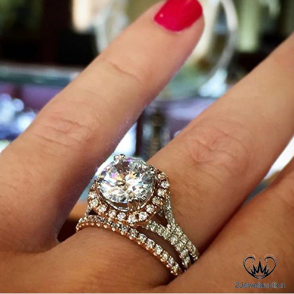 1.35CT Round Diamond Sterling Silver 14k White Gold Over Bridal Wedding Ring Set