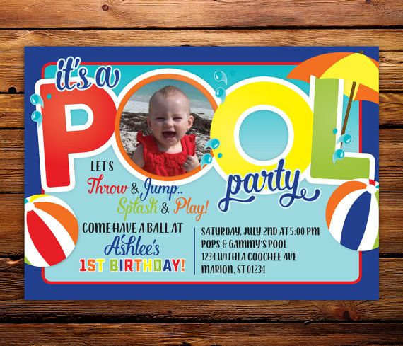 Pool party 1st birthday invitation Pool Party Invitations, Photo Birthday Invitations, Diy Invitations,