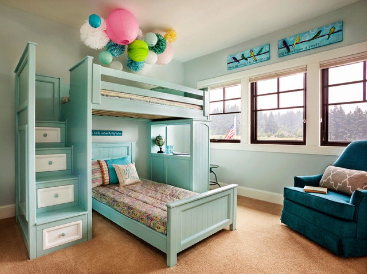 Baby blue colored twin space saver l shaped bunk beds with for Small room with two beds