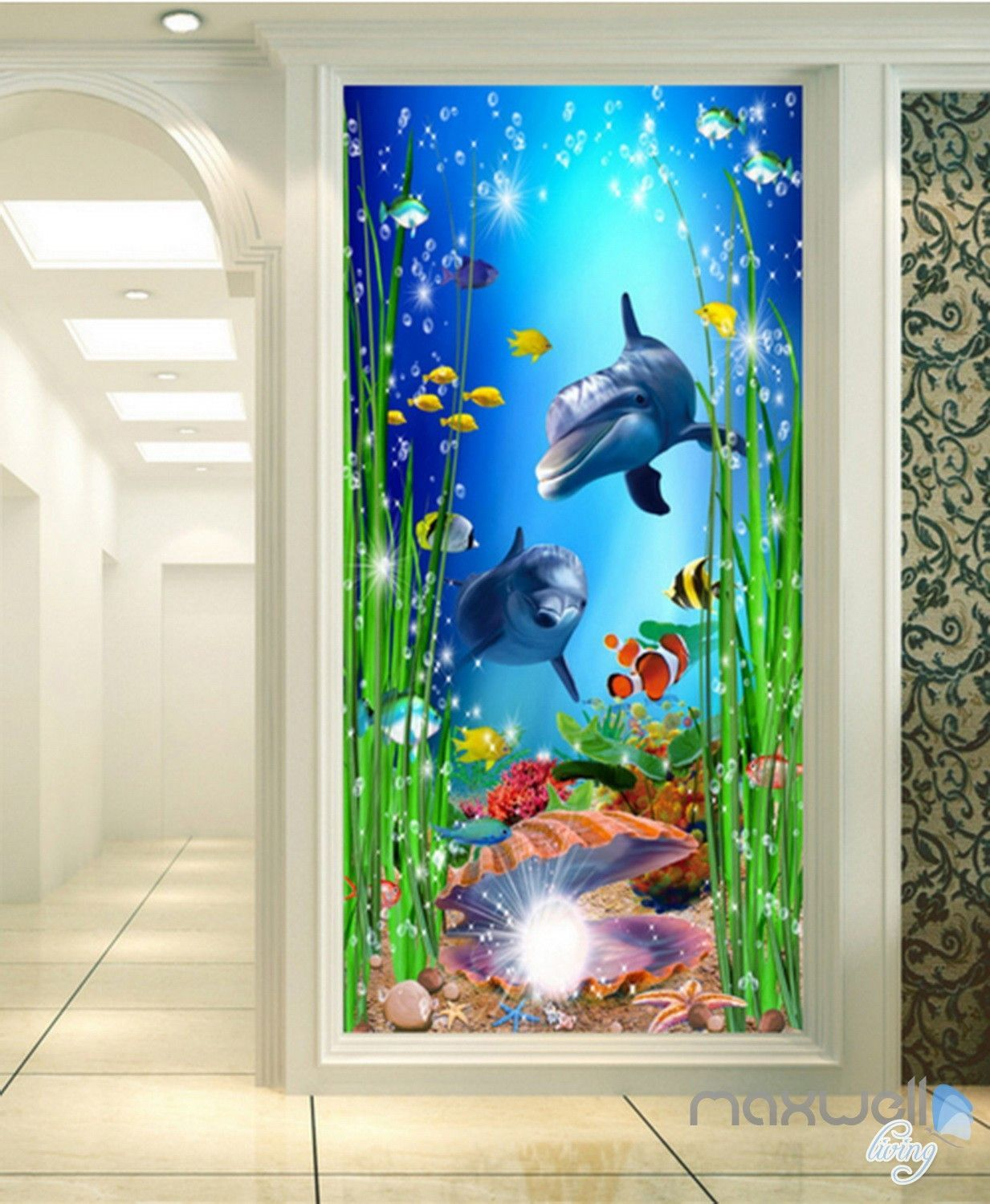 3D Sea Turtle And Dolphins 32 Wall Paper Wall Print Decal Wall AJ Wall Paper