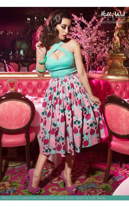Pinup Couture- Jenny Skirt in Mary Blair Lips and Roses Print in Pink | Pinup Girl Clothing