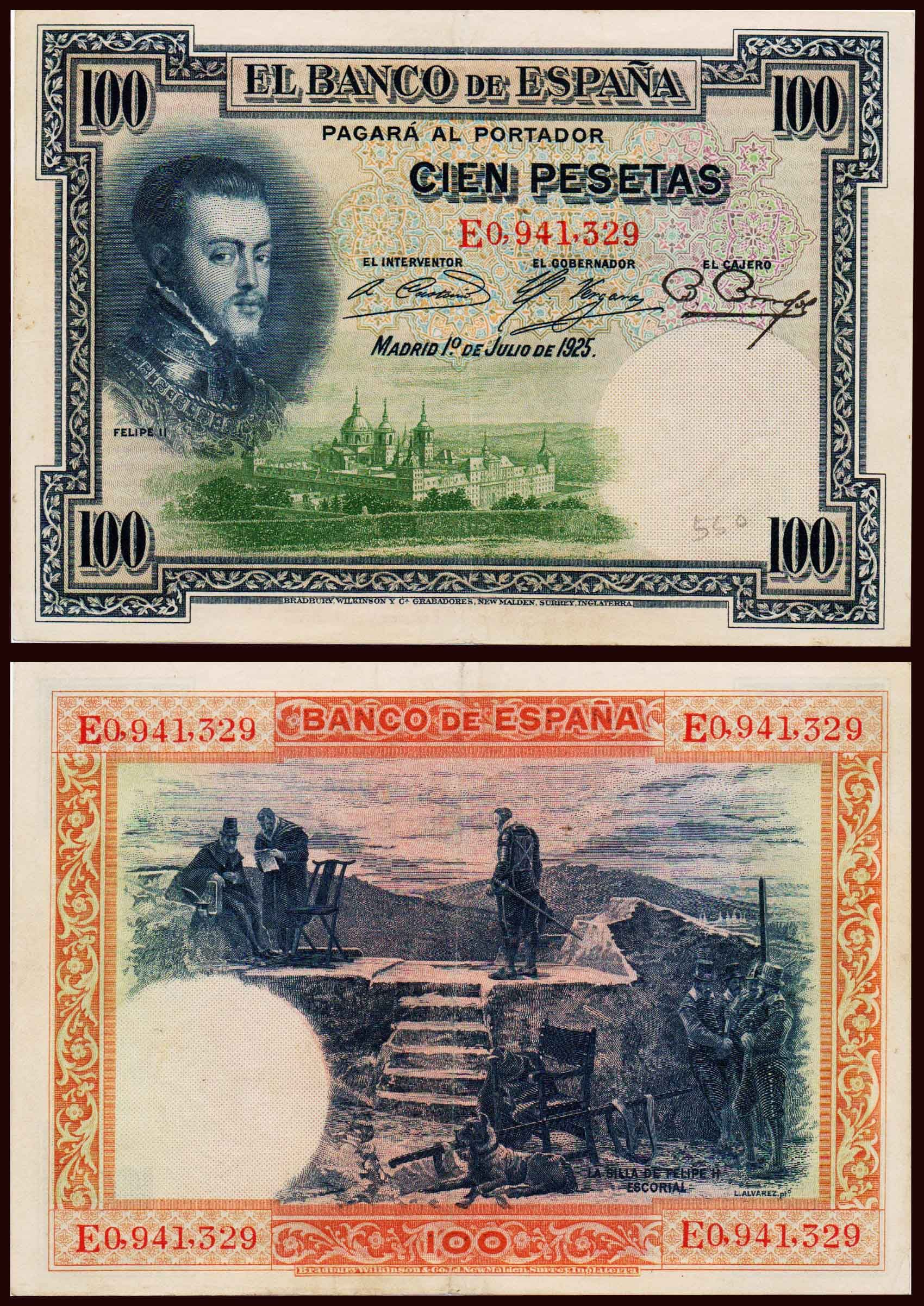 Spain 100 Pesetas Felipe Ii Used