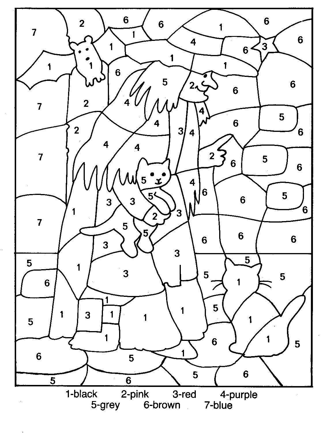 Coloring sheet halloween multiplication - Color By Number Coloring Pages For Kids 4