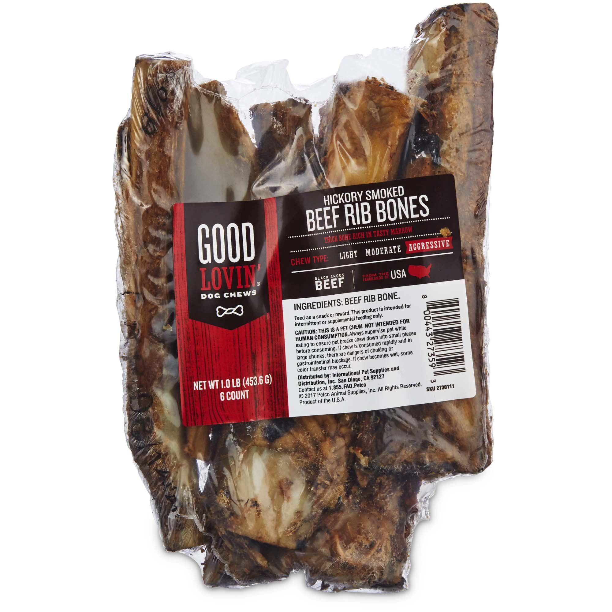 Good Lovin Hickory Smoked Rib Bone Dog Chew Pack of 6  Petco  Good Lovin Hickory Smoked Rib Bone Dog Chew Pack of 6 1 LBS