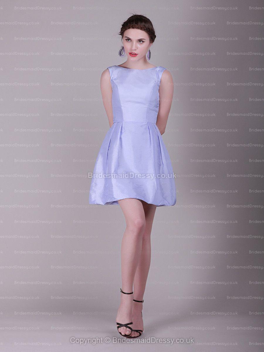 Aline bateau satin shortmini lavender prom dress ideal dresses