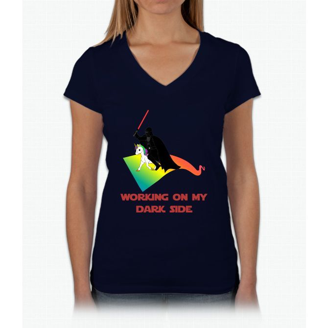 Working On My Dark Side Unicorn Womens V-Neck T-Shirt