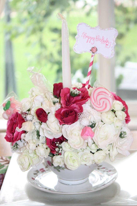 Silk Flower Floral Arrangement Birthday Cake Celebration