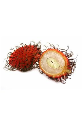 Rambutan      Peel off the spiky red covering of this iron-rich Southeast Asian treat to reveal a translucent white orb with a taste that marries grape and watermelon.    Read more: http://www.oprah.com/food/Superfood-Fruits-Healthy-Exotic-Fruits#ixzz214XrV9Mi