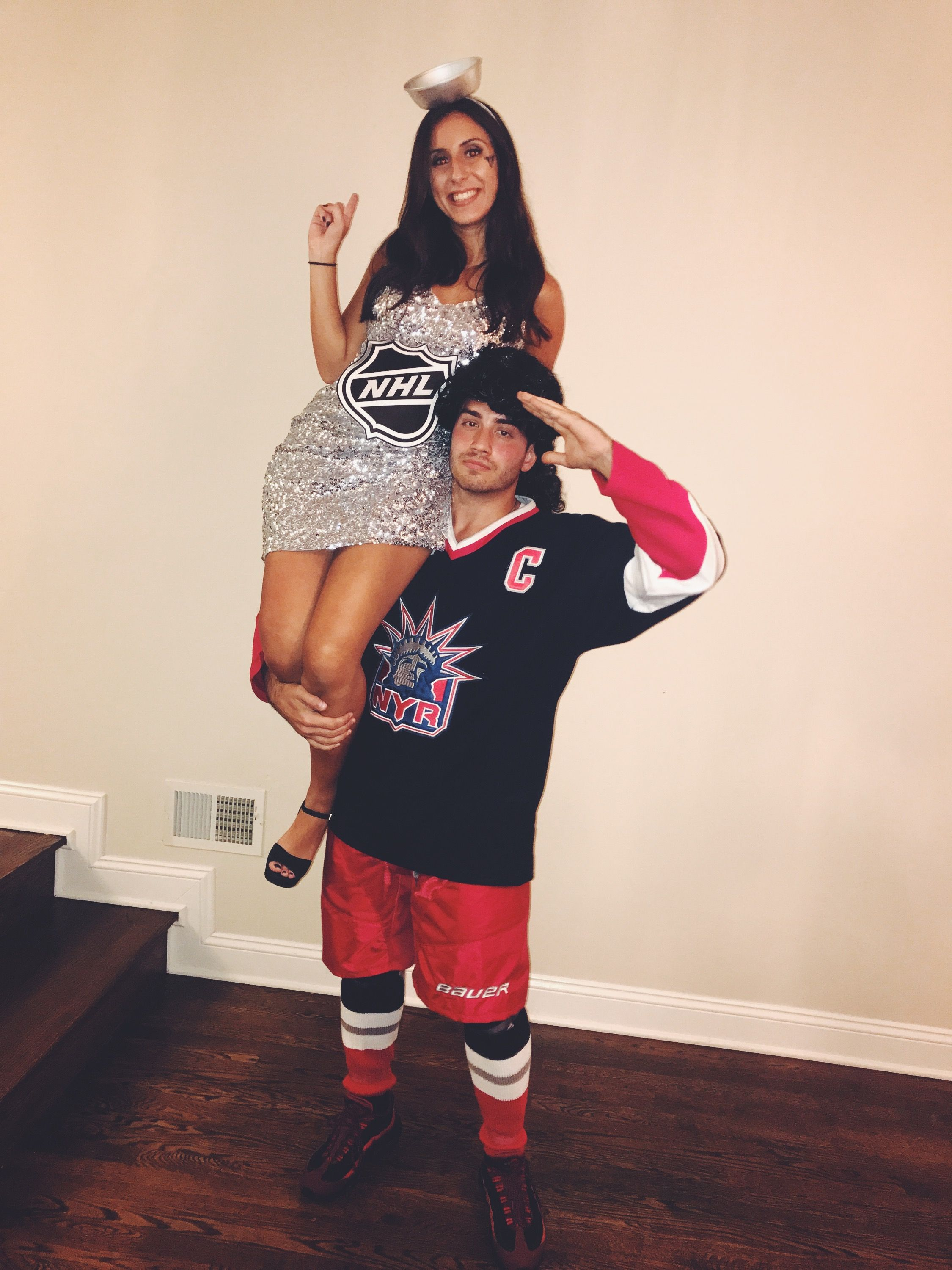 Stanley Cup And Hockey Player Couples Costume Couple Halloween Costumes Halloween Costumes Diy Couples Halloween Costumes
