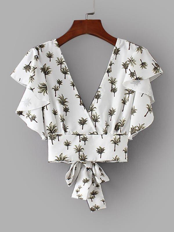 Foliage Print Tie Back Crop Blouse
