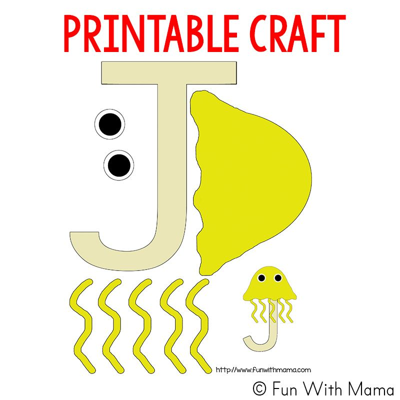 j is for jellyfish template 800a—800 preschool letter j