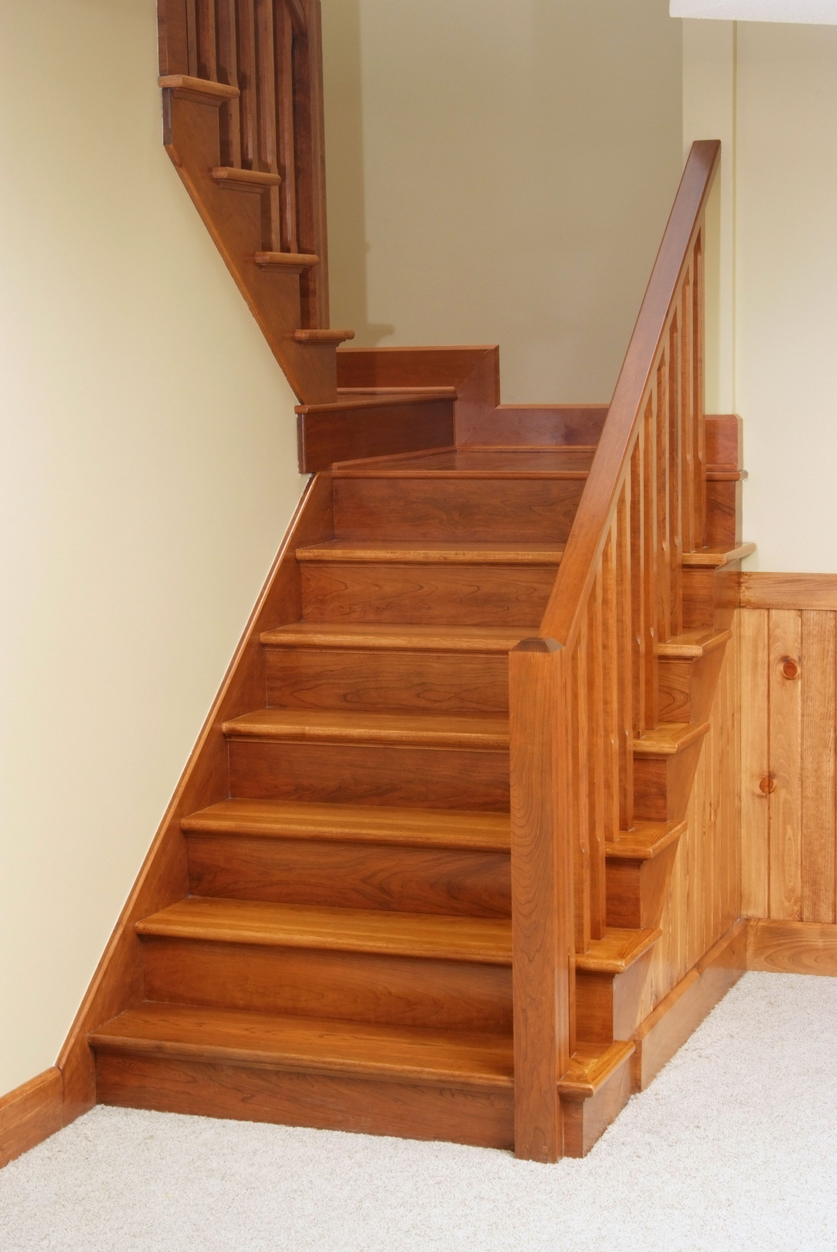 Best B6001 Cherry Contemporary Handrail Bb4000 3 1 2 X 3 1 2 Beveled Top Newel Posts Bbc5360 1 400 x 300