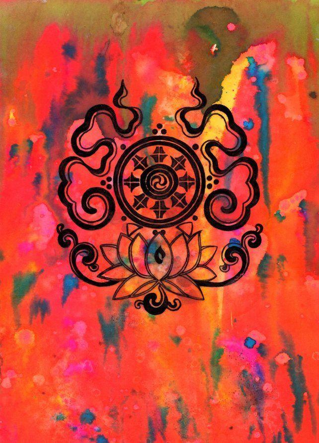 Buddhist Dharma Wheel Mandala Illustration ORIGINAL Pen Drawing Inked
