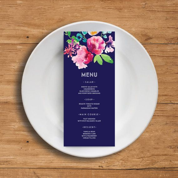 Printable Wedding Menu Template  Floral Wedding Menu Card