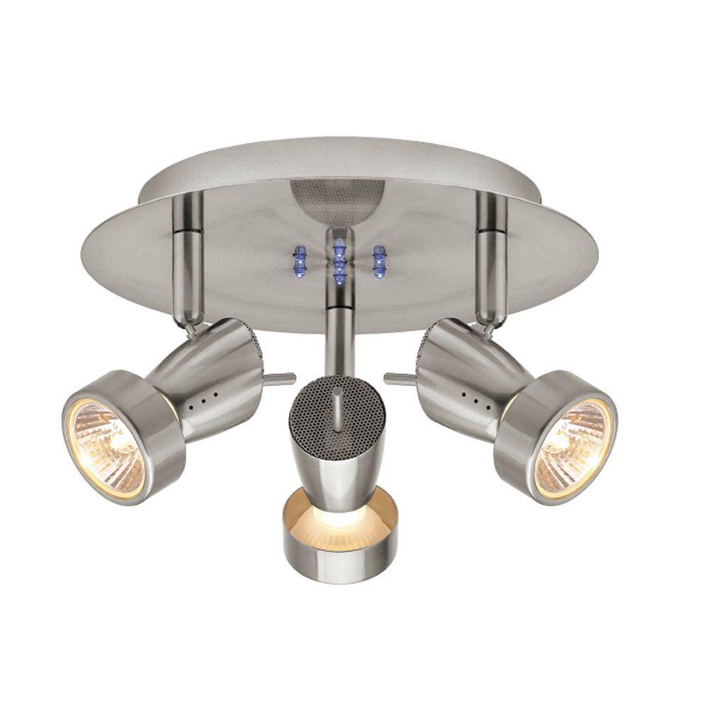 Hampton Bay 3 Light Bronze Directional Ceiling Track: Hampton Bay 3-Light Brushed Nickel Semi-Flush Mount