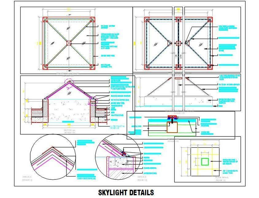 Download #Autocad #drawing of Skylight detail of size (2400x2400 mm