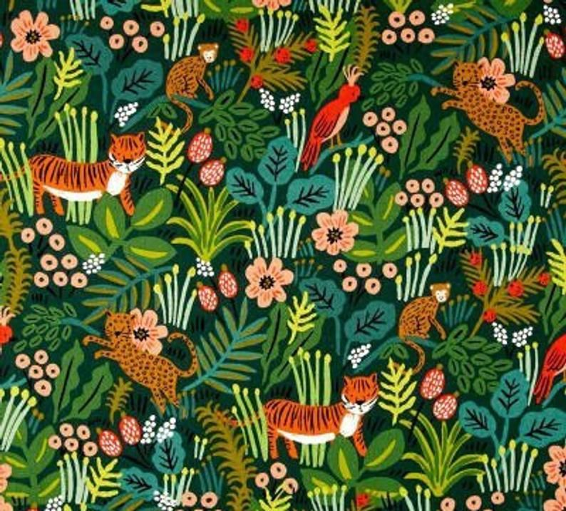 Cotton + Steel Menagerie Jungle Hunter Fabric Rifle Paper 12 End Cut #junglepattern