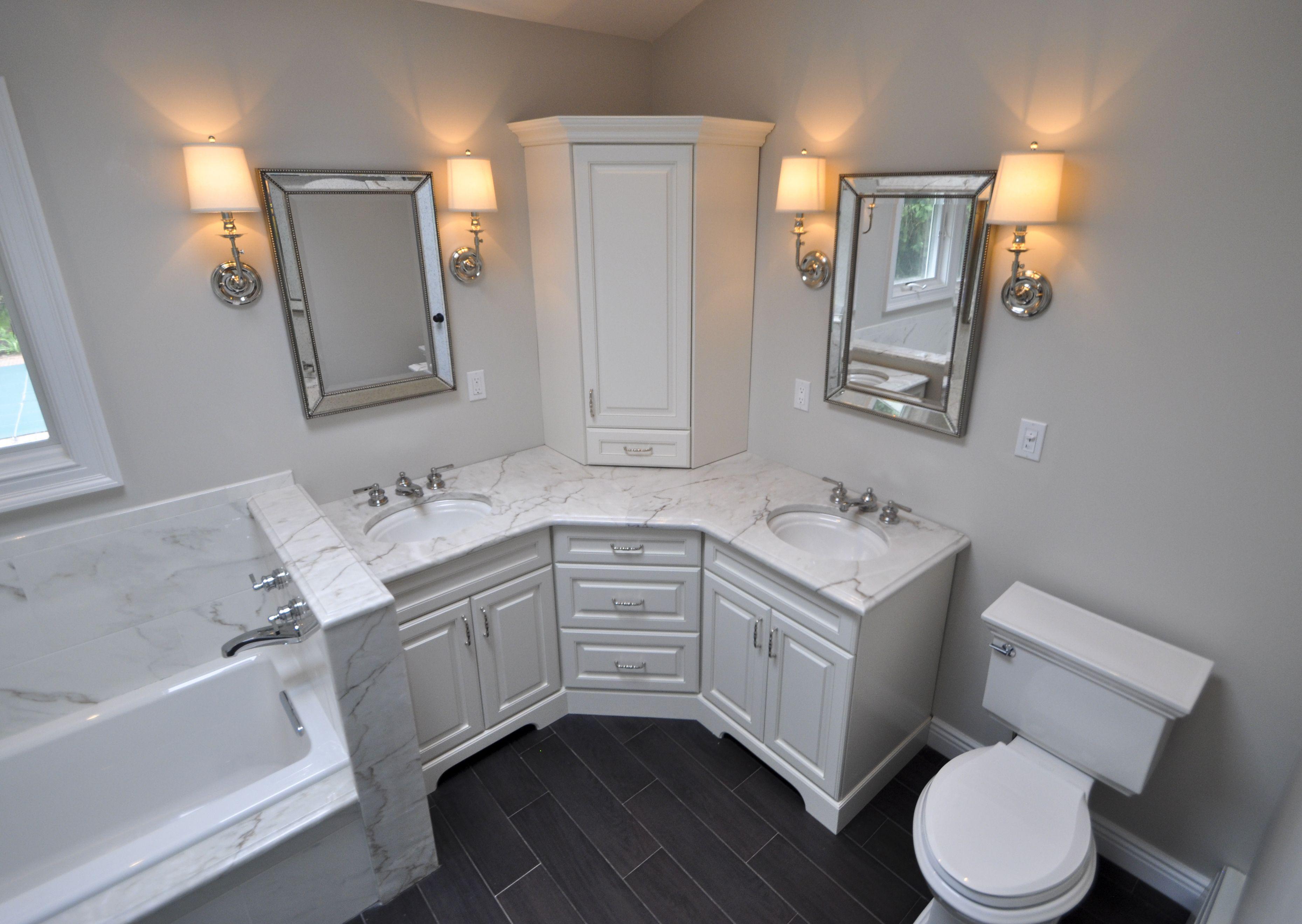 Custom Master Bathroom, with double corner vanity, tower ...