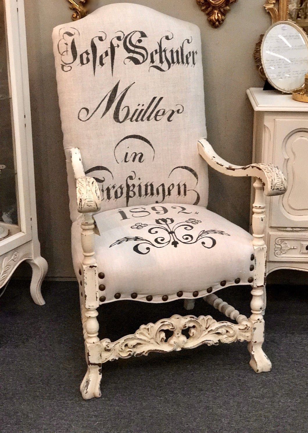 """Late 1800's Chair With New Upholstery On Sale 25"""" Wide x"""