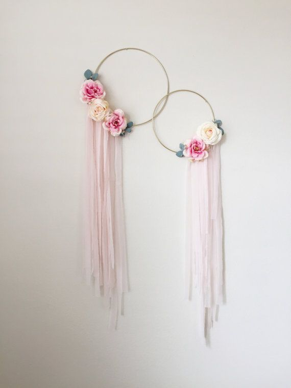 Photo of Gold Hoop Wreath, Silk Flowers Wreath, Modern Wreath, Floral Art, Wall Hanging, Nursery Wall …