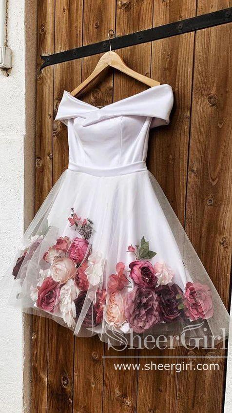 🌷🌷🌷Off Shoulder 3D Flowers Homecoming Dresses Appl