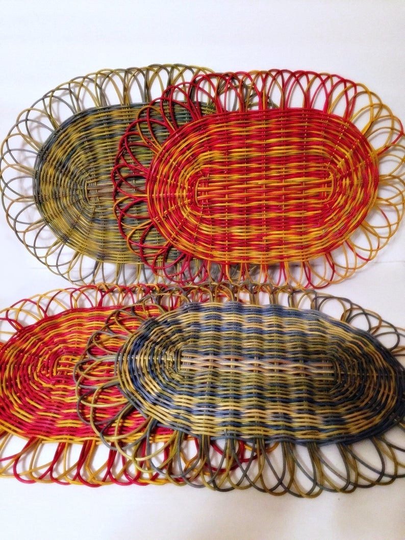 4 Wicker Woven Retro Table Placemats Table Mats Red Yellow Etsy Retro Table Wicker Table Mats