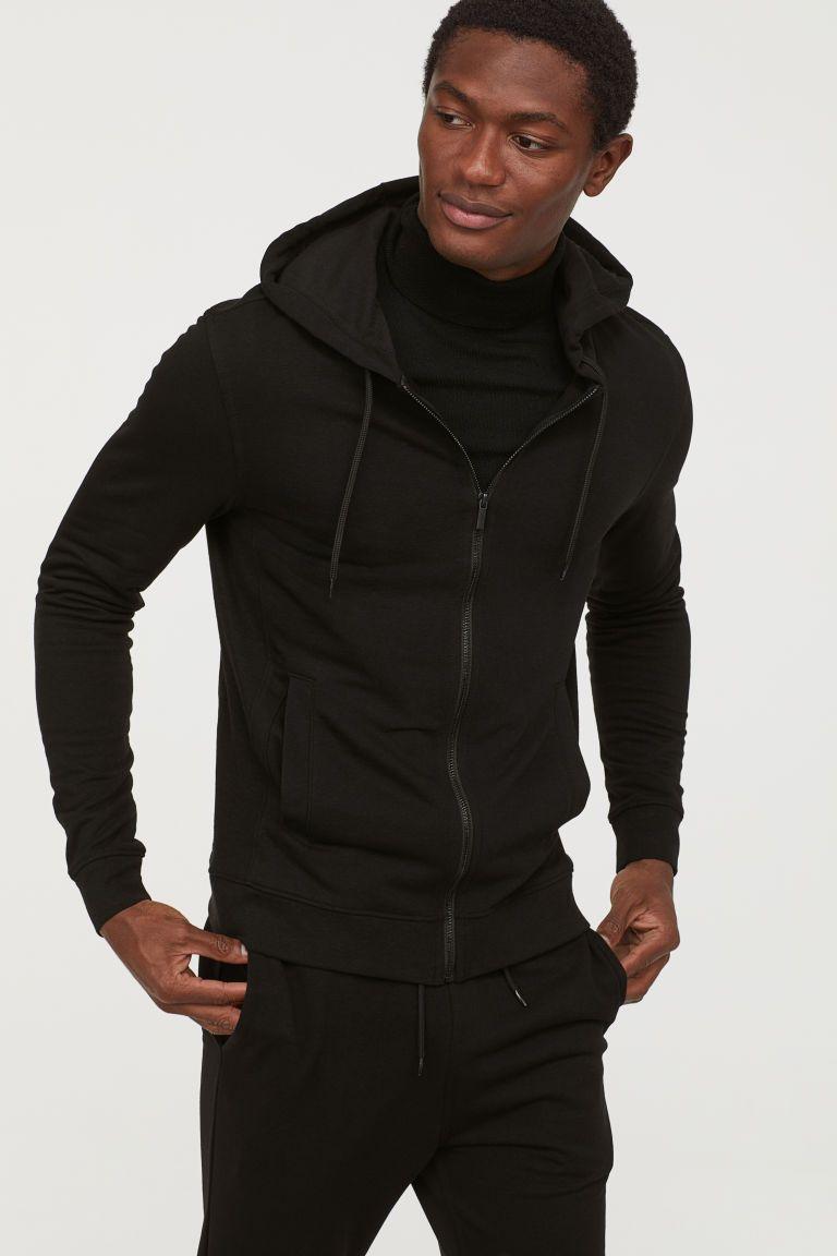 Slim Fit Hooded Jacket Dark Blue Men H M Us Hooded Jacket Sweatshirt Jacket Jackets [ 1152 x 768 Pixel ]