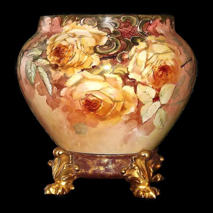 Limoges Signed Jardiniere Planter Vase And Plinth Base With