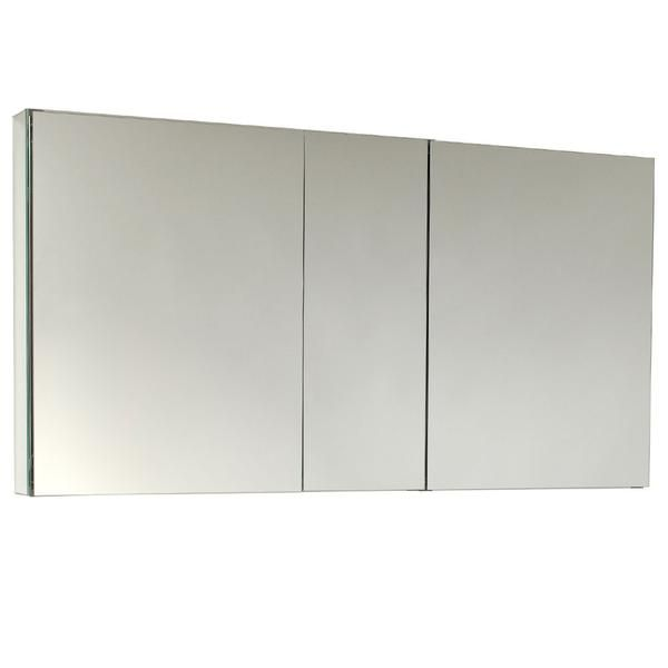 Fresca 50 Wide Mirrored Bathroom Medicine Cabinet 3 Door With Inner