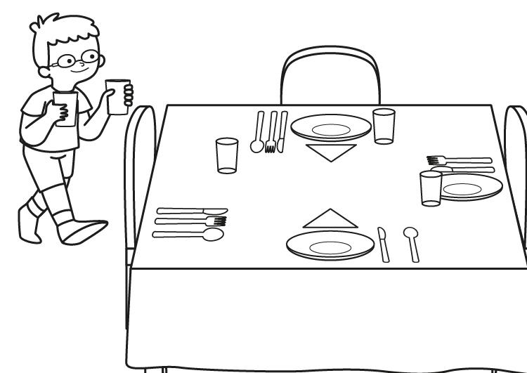 Nino Poniendo La Mesa Dibujo Para Colorear E Imprimir En 2020 Poner La Mesa Dibujos Para Colorear Mesa Para Ninos