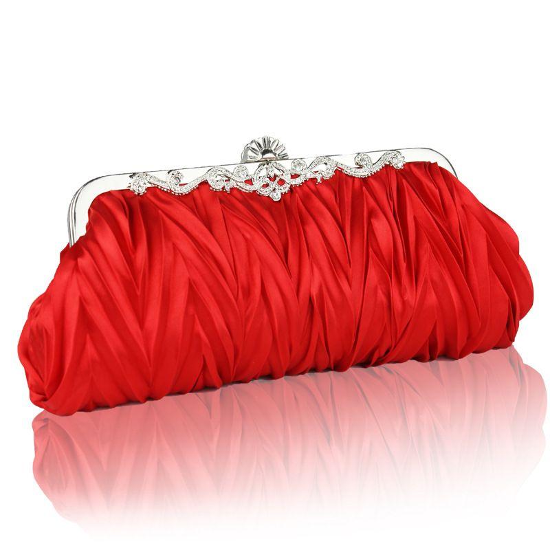 "Women Satin Crystal Clutch Party Wedding Purse Soft Evening Bag Bridal Hand/""/'"