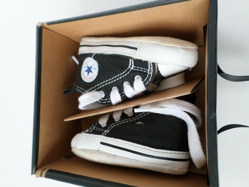 size 40 a835a e9490 First Star Black Converse Crib Shoes Size 1 Baby Toddler Child  fashion   clothing
