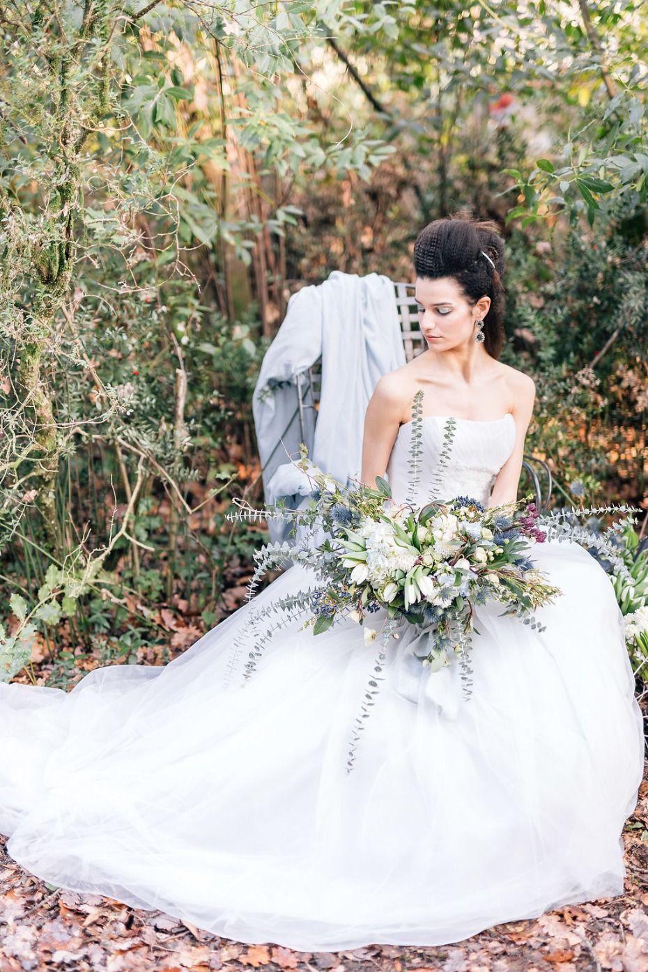 Woodland wedding dress  Powder Blue And Gold Romantic Victorian Woodland Wedding Ideas