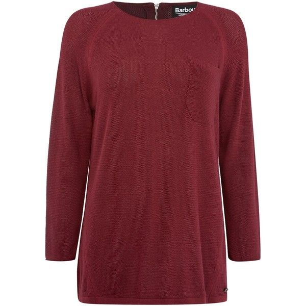 Barbour International Fandor textured knit jumper ($140) ❤ liked on Polyvore featuring tops, sweaters, red, women, 3/4 length sleeve tops, relaxed fit tops, jumpers sweaters, red sweater and barbour