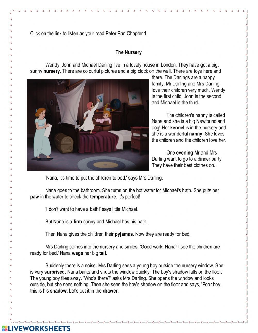 Peter Pan Chapter 1 Interactive worksheet Vocabulary