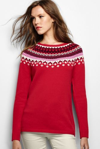 Womens Fair Isle Open Crewneck Sweater From Lands End Pretty