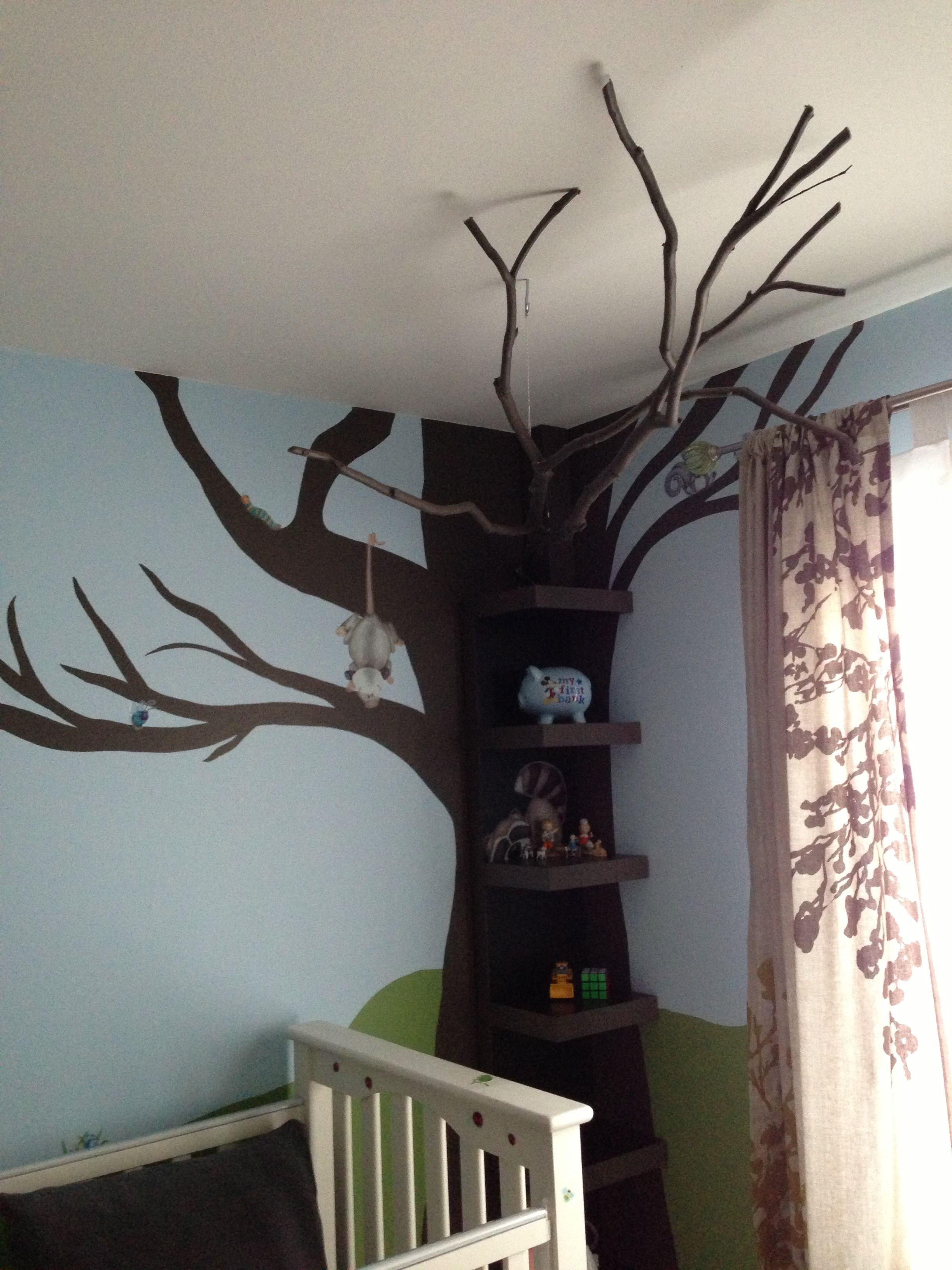Destry 39 s nursery tree bookshelf with real tree branch for Corner tree bookcase