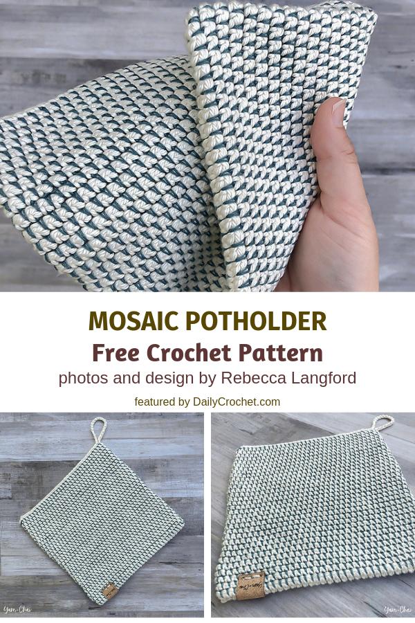 3 Double Sided Crochet Potholders Patterns You'll Love #crochetpotholderpatterns