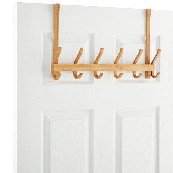 6 Hook Bamboo Overdoor Rack Bamboo Bathroom Rug Door